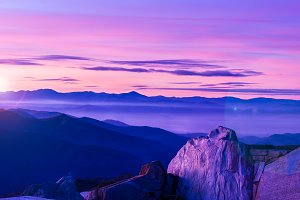 Mountains Landscape at Dusk.