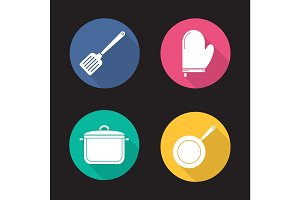 Kitchenware flat design long shadow icons set