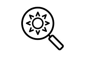 Magnifying glass with sun linear icon