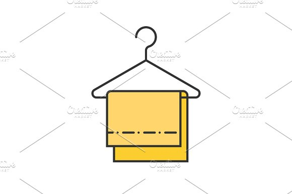 Towels on clothes hanger color icon