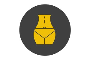 Woman's waist glyph color icon