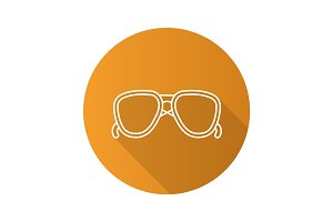 Sunglasses flat linear long shadow icon