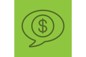 Money talk color linear icon
