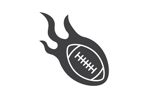 Burning rugby ball glyph icon