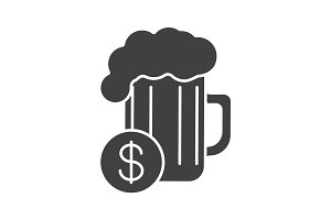 Buy beer glyph icon