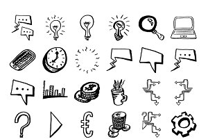 handdraw business icons