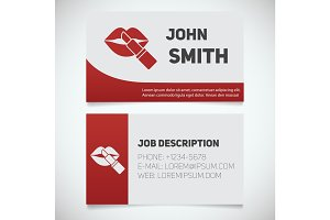 Business card print template with lipstick and lips logo