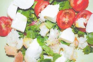 Tomato salad, faded vintage look
