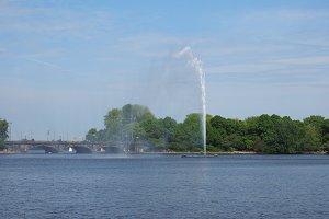 Alsterfontaene (Alster Fountain) at Binnenalster (Inner Alster lake) in Hamburg