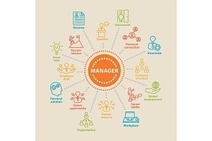 MANAGER Concept with icons