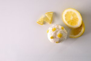 Ice cream flavored lemon on table