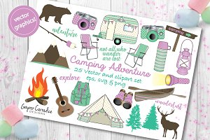 Boho camping vector clipart set