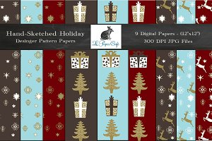 Hand-Sketched Holiday Digital Papers