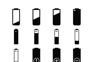 Electrician icons batteries