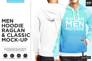 Men Hoodie Raglan & Classic Mock-up