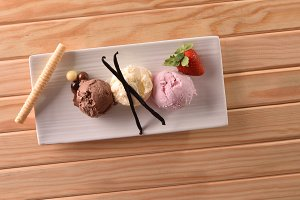 Ice cream tastes on table top