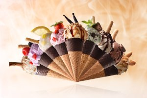 Assortment cone ice cream fan-shaped