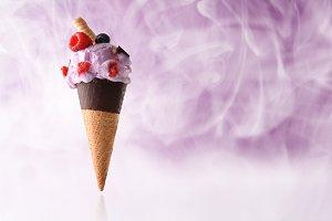 Berries ice cream cone steam