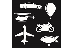 Vector illustration of simple monochromatic vehicle and transport related icons