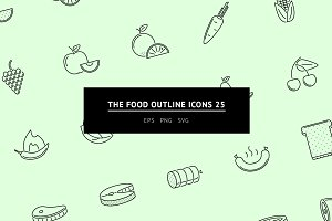 The Food Outline Icons 25