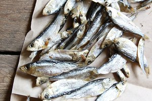 dried fish for cooking at market