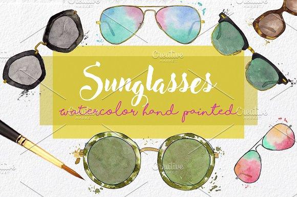 Watercolor Sunglasses Clipart Summer
