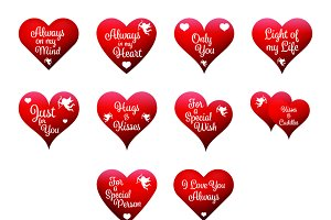 valentine heart icons with text