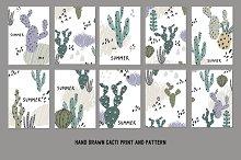 Hand Drawn Cacti pattern, card