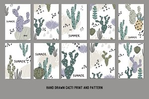 Hand Drawn Cacti pattern, card