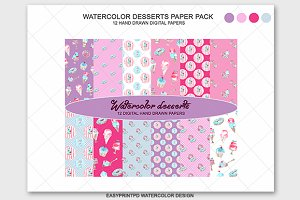 Desserts Cupcake Digital Paper Kit