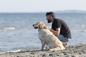 Man with his dog on a beach.