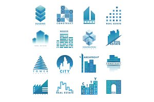 Architecture building skyscraper construction builder developer agency logo badge real estate vector illustration