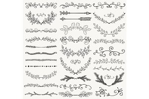 Vector Black Hand Drawn Dividers, Branches, Swirls