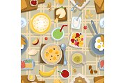 Healthy eating breakfast lunch meal concept with fresh salad bowls on kitchen wooden worktop top view vector seamless pattern background