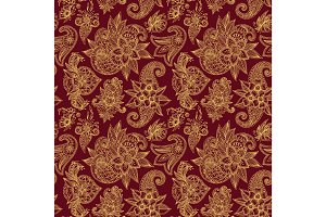 Mehendy golden flower seamless pattern design tracery vector illustration floral bacground