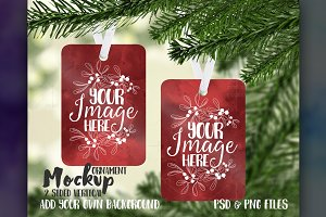 2 sided vertical ornament mockup