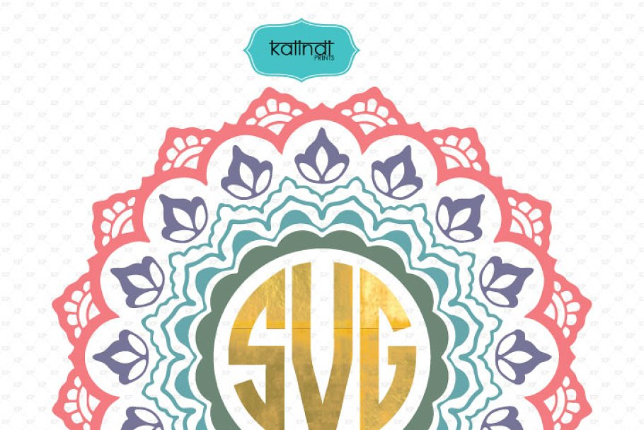 Mandala monogram svg in Illustrations - product preview 8