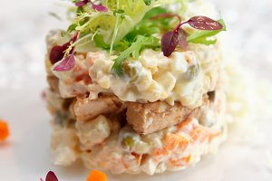 Russian salad cooked in modern way