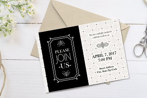 Vintage Elegant Black Party Invite