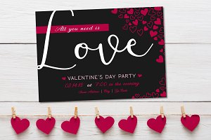 Valentine's Day Party Heart Invite