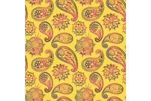 Mehendy golden flower seamless pattern design vector illustration floral bacground