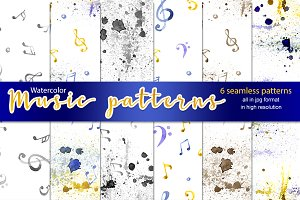 6 watercolor music patterns