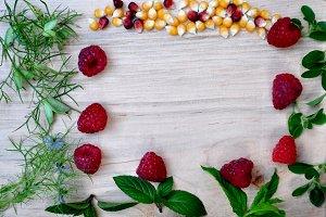 Maize and raspberries on frame