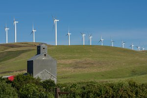 Wind turbines with grainery