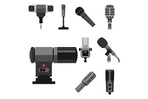 Different microphones types icons tool tv vector