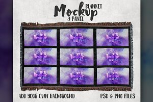 9 panel throw blanket mockup