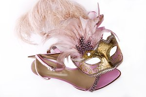 Pink carnival mask and sandals