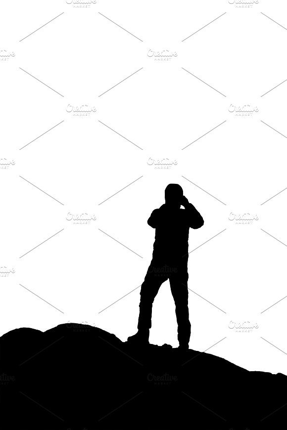 Silhouette Graphic Man Taking Photos At Top Of Hill