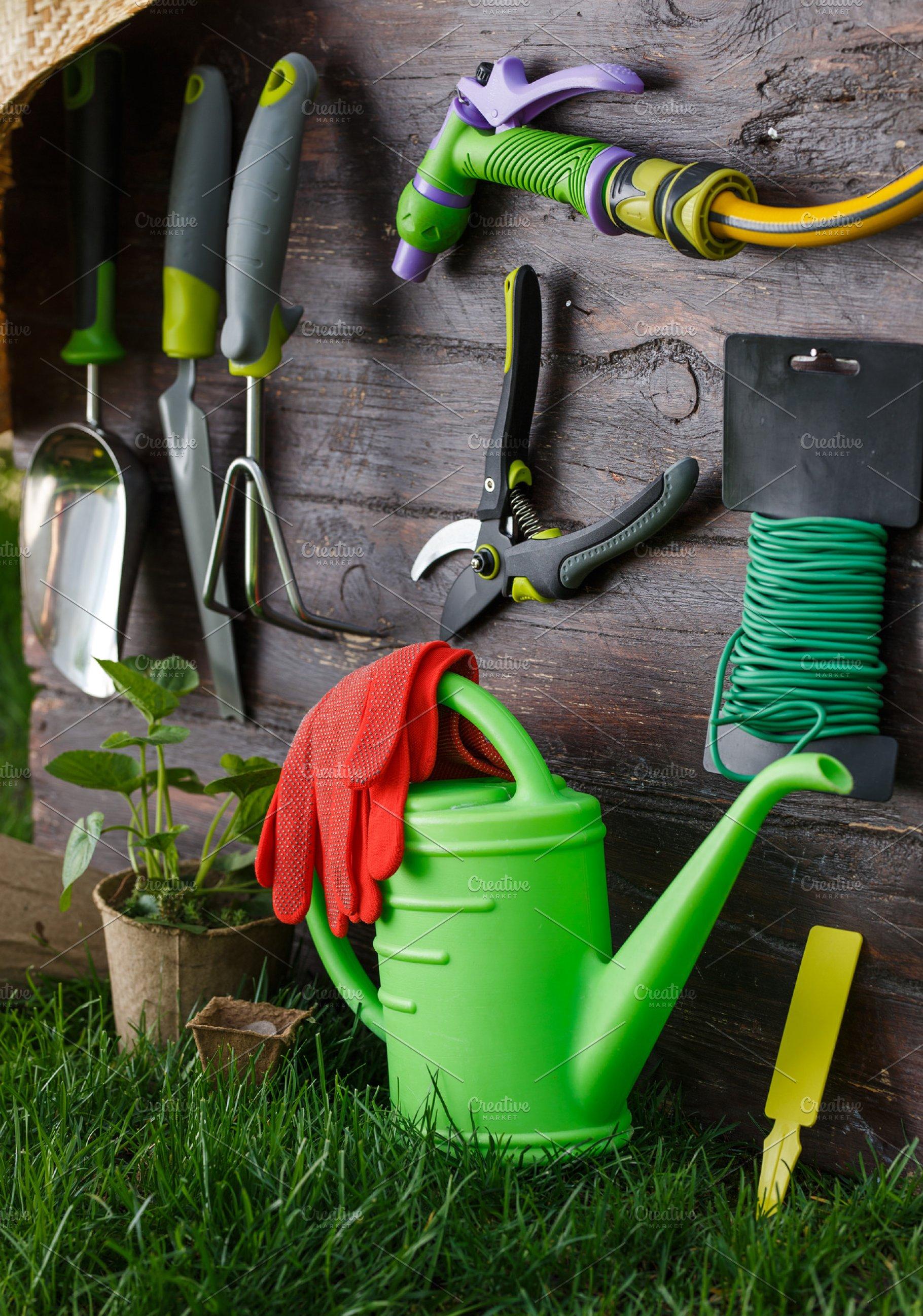 Gardening Tools And Equipment Closeup In The Backyard High