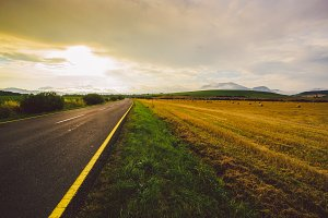 empty road, field, sunset, sky, summer